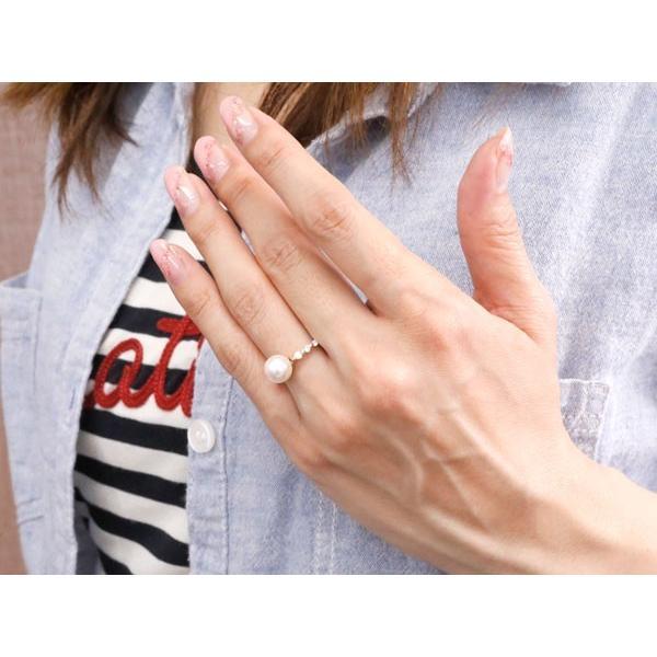 パールリング 真珠 フォーマル ピンキーリング キュービックジルコニア プラチナリング リング 指輪 pt900 ストレート 母の日