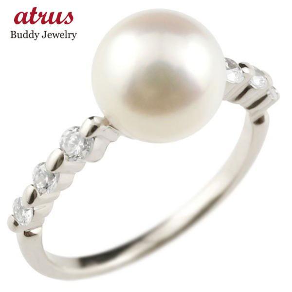 パールリング 真珠 フォーマル ピンキーリング ダイヤモンド ダイヤ ホワイトゴールドk18 18k リング 指輪 18金 ストレート 送料無料