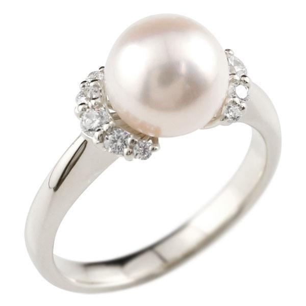 婚約指輪 安い パールリング 真珠 フォーマル エンゲージリング キュービックジルコニア  婚約指輪 プラチナリング リング 指輪 pt900 ストレート 母の日
