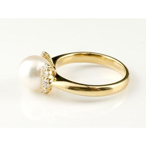 パールリング 真珠 フォーマル ピンキーリング ダイヤモンド ダイヤ イエローゴールドk18 リング 指輪 18金 ストレート 母の日
