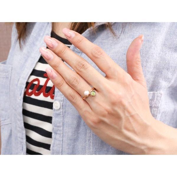 パールリング 真珠 フォーマル リング ペリドット ピンクゴールドk10 リング 10金 8月誕生石 ピンキーリング 指輪 宝石  プレゼント 女性 ペア 母の日