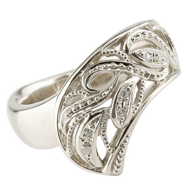 リング ダイヤモンド 指輪 透かし 幅広リング アラベスク シルバー レディース ピンキーリング ミル打ち sv925 宝石 送料無料