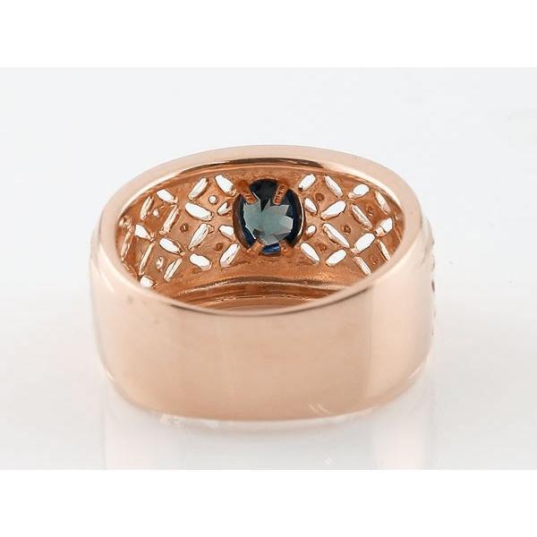 エンゲージリング 婚約指輪 サファイア ダイヤモンド ピンクゴールドk18 指輪 透かし 幅広リング  レディース  18金 宝石  プレゼント 女性 ペア 母の日