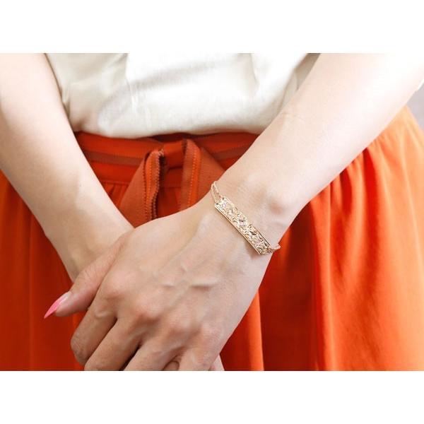 ブレスレット ハワイアンジュエリー プレート ピンクサファイア ピンクゴールドk18 ダイヤモンド レディース ミル打ち ダイヤ 18金 宝石 母の日