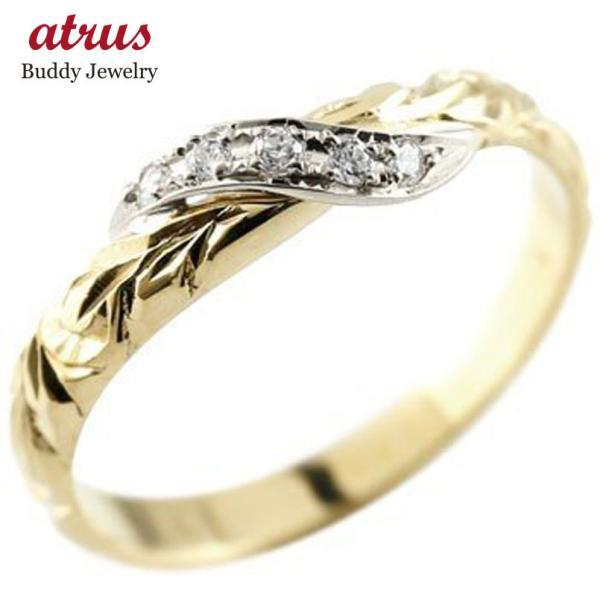 ハワイアンジュエリー ピンキーリング ダイヤモンド プラチナ リング イエローゴールドk18 指輪 ハワイアンリング ダイヤ 18金 母の日