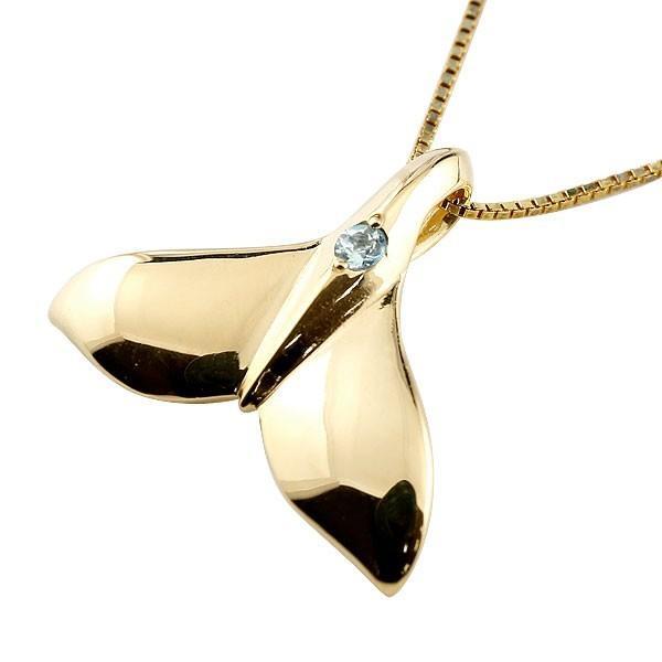 ハワイアンジュエリー ネックレス メンズホエールテール クジラ 鯨 アクアマリン ネックレス イエローゴールド ペンダント 天然石 3月誕生石 k10 10金 人気 宝石