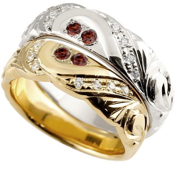 結婚指輪 ペアリング ハワイアンジュエリー ガーネット ダイヤモンド イエローゴールドk18 ホワイトゴールドk18 幅広 指輪 マリッジリング ハート 18金 母の日