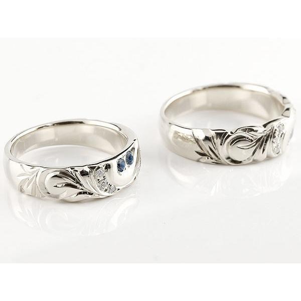 結婚指輪 ペアリング ハワイアンジュエリー サファイア ダイヤモンド ホワイトゴールドk18 幅広 指輪 マリッジリング ハート ストレート カップル 18金 母の日