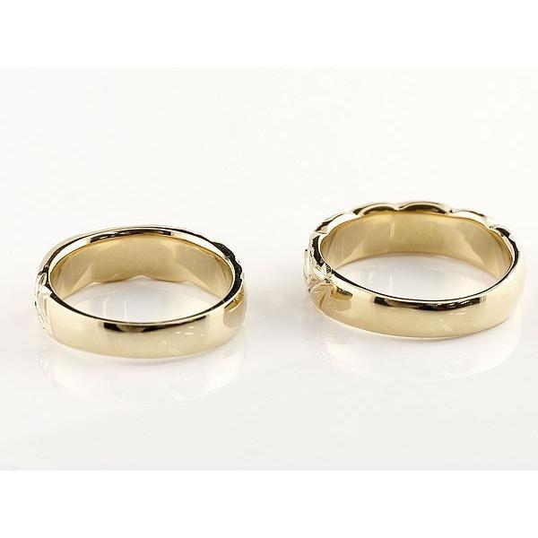 結婚指輪 ペアリング ハワイアンジュエリー サファイア ダイヤモンド イエローゴールドk18 幅広 指輪 マリッジリング ハート ストレート カップル 18金 母の日