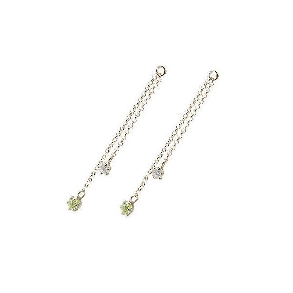 2個 パーツ ピアス用 イヤリング用 ホワイトゴールドk18 18k ペリドット ダイヤモンド シンプル レディース 宝石 送料無料