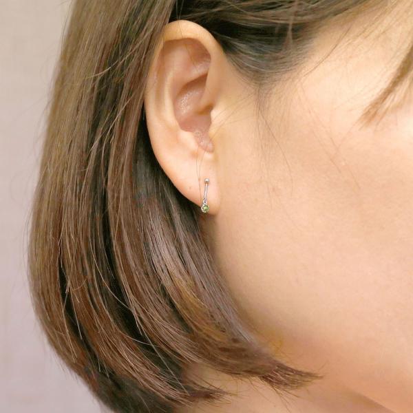 片耳イヤリング サファイア ホワイトゴールドk10 シリコン クリップ式 ノンホールピアス レディースイヤリング 10金 母の日
