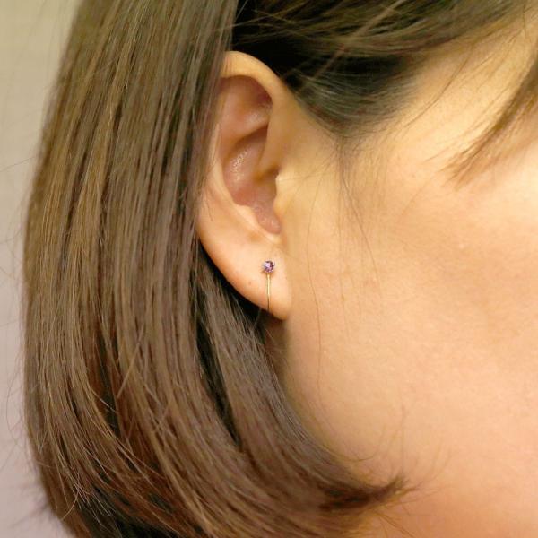 片耳イヤリング ピンクトルマリン イエローゴールドk10 シリコン クリップ式 ノンホールピアス レディースイヤリング 10金 母の日