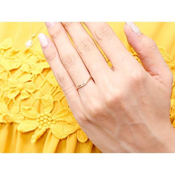 スイートペアリィー インフィニティ ペアリング 結婚指輪 マリッジリング ダイヤモンド ピンクゴールドk18 V字 つや消し 一粒 18金 華奢 母の日