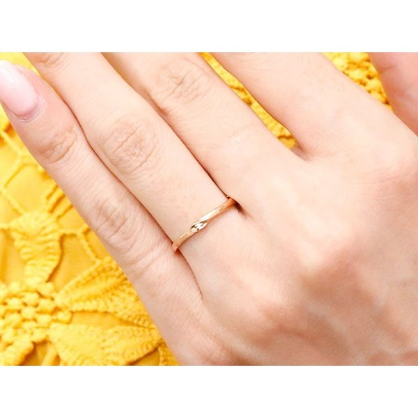 結婚指輪 安い スイートペアリィー インフィニティ ペアリング 結婚指輪 ダイヤモンド ピンクゴールドk18 プラチナ900 S字 つや消し 一粒 18金 華奢 最短納期|atrus|05