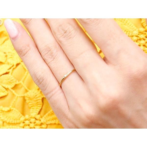 スイートペアリィー インフィニティ ペアリング 結婚指輪 マリッジリング ダイヤモンド イエローゴールドk18 ストレート一粒 18金 華奢 母の日