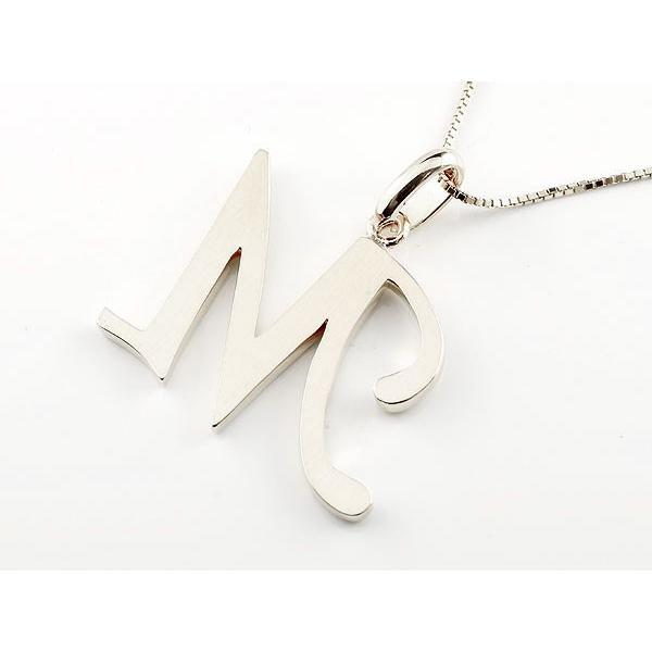 ネックレス イニシャル ネーム M キュービックジルコニア ホワイトゴールドk18 ペンダント アルファベット レディース チェーン 人気 18金 母の日