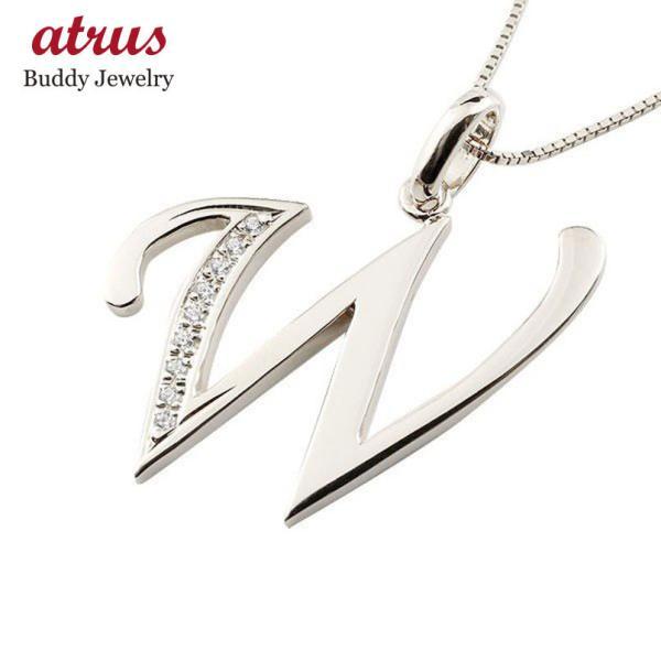 イニシャル ネーム ネックレス W ダイヤモンド プラチナ ペンダント アルファベット レディース チェーン 人気 ダイヤ 母の日