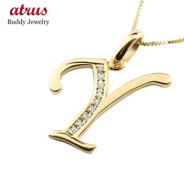 イニシャル ネーム ネックレス Y ダイヤモンド イエローゴールドk10 ペンダント アルファベット レディース チェーン 人気 10金 ダイヤ 母の日