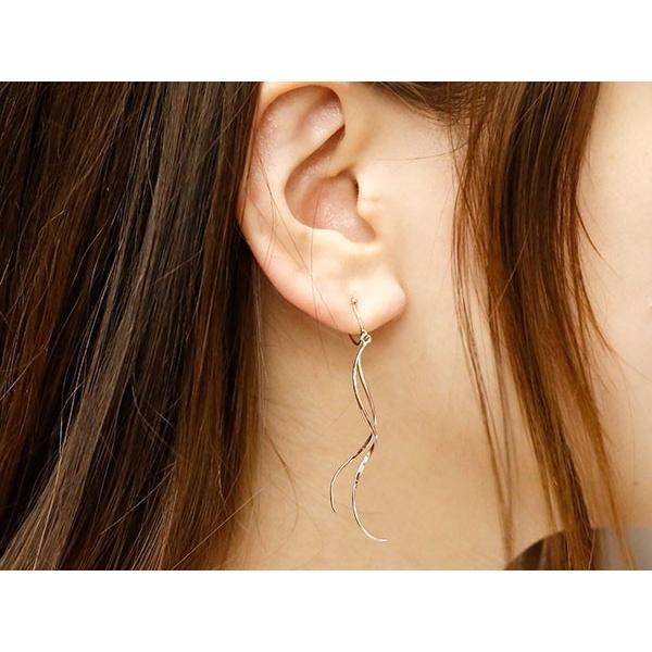 片耳イヤリング ピンクゴールドk18 スパイラル 地金 宝石なし シリコン クリップ式 k18 18金 ノンホールピアス レディースイヤリング 母の日