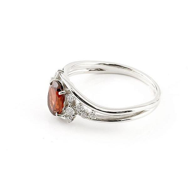 ピンキーリング プラチナ 一粒 ガーネット 大粒 指輪 ダイヤモンド 1月誕生石 宝石 母の日
