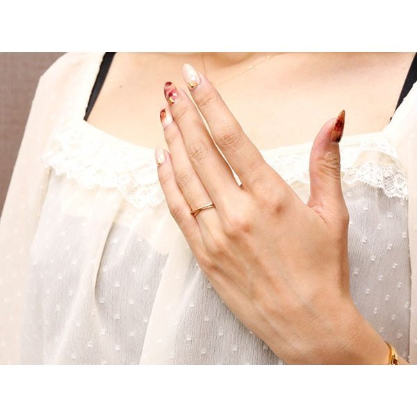 ペアリング ピンクゴールドk18 指輪 華奢 重ね付け3連 地金リング 宝石なし 18金 ストレート  プレゼント 女性 母の日