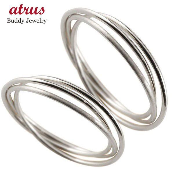 マリッジリング ペアリング ホワイトゴールドk18 指輪 華奢 重ね付け3連 地金リング 宝石なし 18金 ストレート 母の日