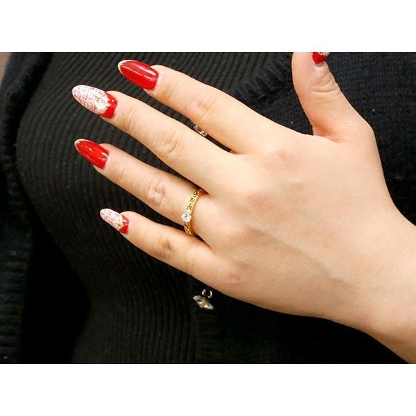 イエローゴールドk18リング ダイヤモンド アンティーク 透かし ミル打ち 指輪 一粒 大粒 ダイヤ イエローゴールドリング ダイヤモンドリング k18 18金 母の日