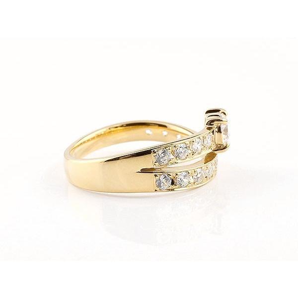 ダイヤモンド ペアリング 結婚指輪 イエローゴールドk18 エタニティ リング マリッジリング 一粒 大粒 リング ダイヤ 18金 母の日
