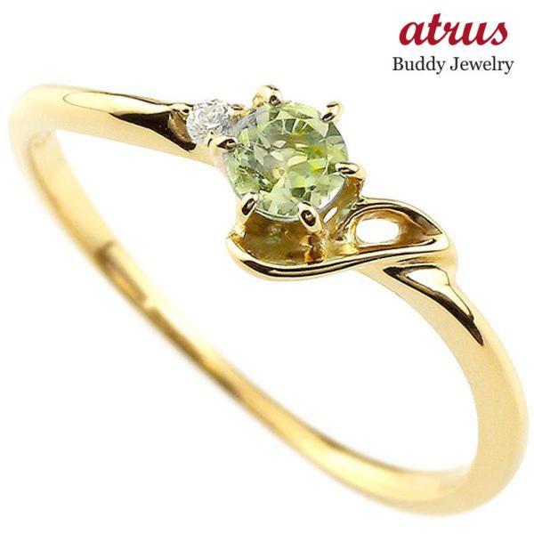 エンゲージリング イニシャル ネーム J 婚約指輪 ペリドット ダイヤモンド イエローゴールドk18 指輪 アルファベット 18金 レディース 8月誕生石 人気  女性