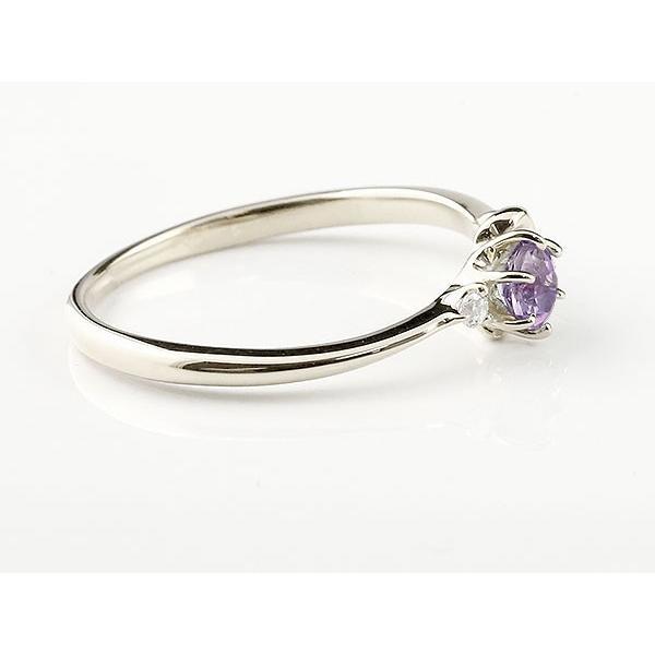 エンゲージリング イニシャル ネーム K 婚約指輪 アメジスト ダイヤモンド ホワイトゴールドk10 指輪 アルファベット 10金 レディース 2月誕生石 人気  女性