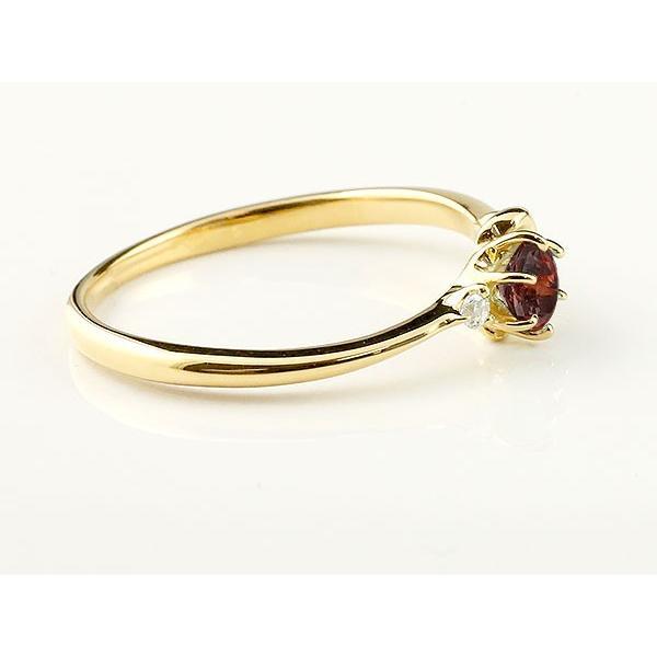 エンゲージリング イニシャル ネーム K 婚約指輪 ガーネット ダイヤモンド イエローゴールドk10 指輪 アルファベット 10金 レディース 1月誕生石 人気  女性