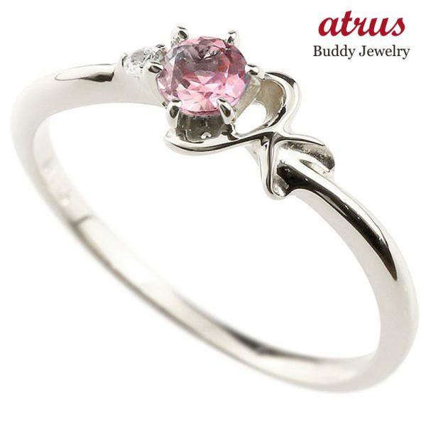 指輪 イニシャル ネーム K ピンキーリング ピンクトルマリン ダイヤモンド 華奢リング プラチナアルファベット レディース 10月誕生石 人気 送料無料