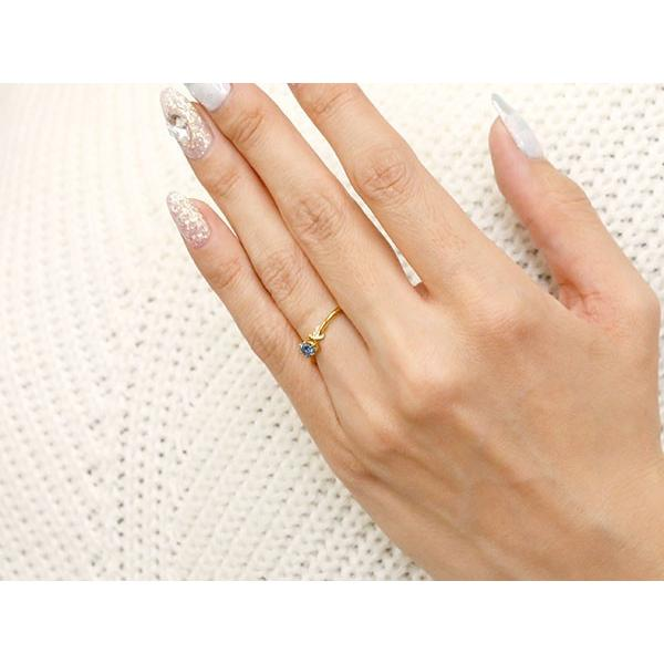 エンゲージリング イニシャル ネーム K 婚約指輪 ブルーサファイア ダイヤモンド イエローゴールドk10 指輪 アルファベット 10金 レディース 9月誕生石 母の日