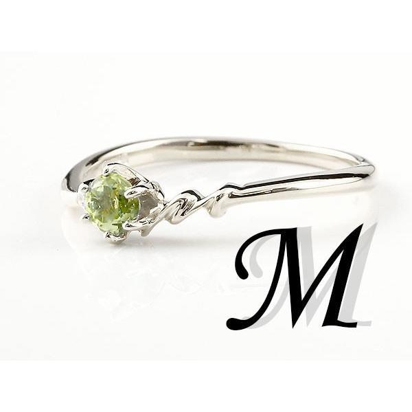 エンゲージリング イニシャル ネーム M 婚約指輪 ペリドット ダイヤモンド シルバー 指輪 アルファベット レディース 8月誕生石 人気  女性 ペア 母の日