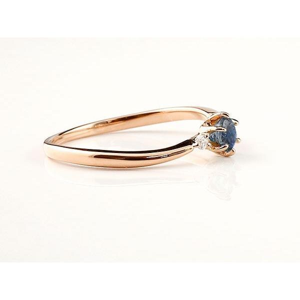 エンゲージリング イニシャル ネーム M 婚約指輪 ブルーサファイア ダイヤモンド ピンクゴールドk10 指輪 アルファベット 10金 レディース 9月誕生石 人気