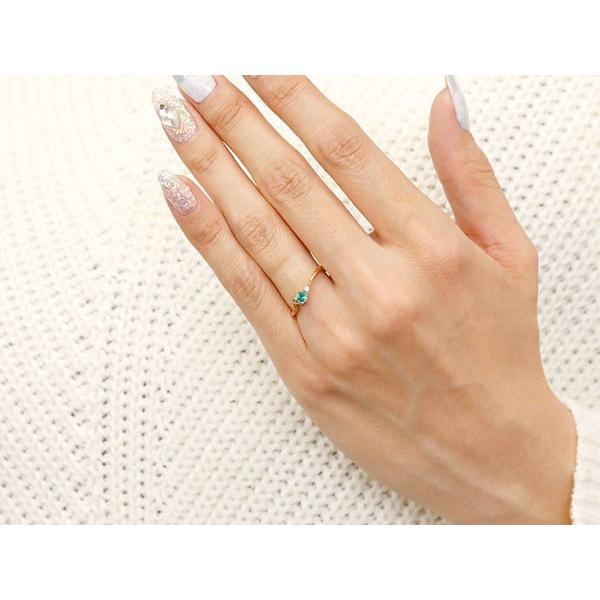 エンゲージリング イニシャル ネーム R 婚約指輪 エメラルド ダイヤモンド ピンクゴールドk18 指輪 アルファベット 18金 レディース 5月誕生石 人気  女性