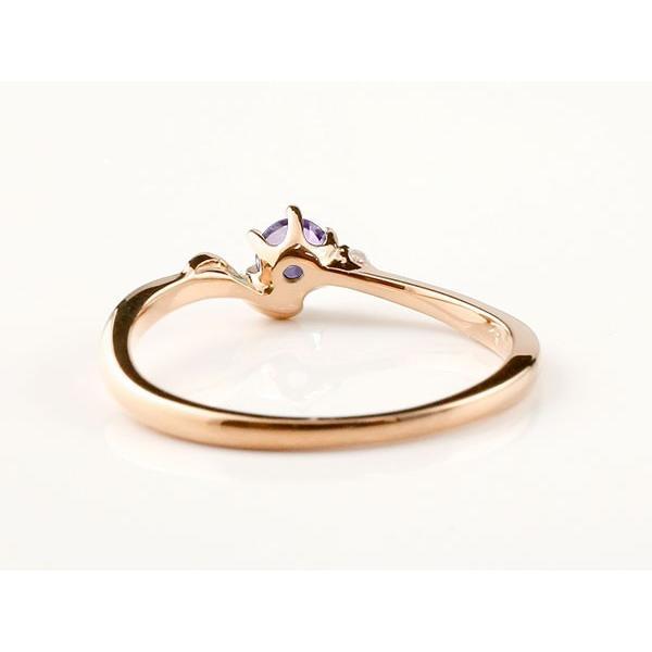 エンゲージリング イニシャル ネーム S 婚約指輪 アメジスト ダイヤモンド ピンクゴールドk10 指輪 アルファベット 10金 レディース 2月誕生石 人気  女性