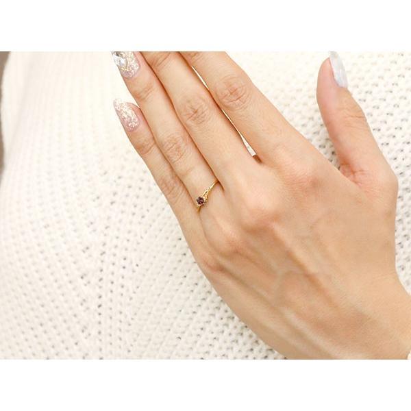 エンゲージリング イニシャル ネーム T 婚約指輪 ガーネット ダイヤモンド イエローゴールドk18 指輪 アルファベット 18金 レディース 1月誕生石 人気  女性