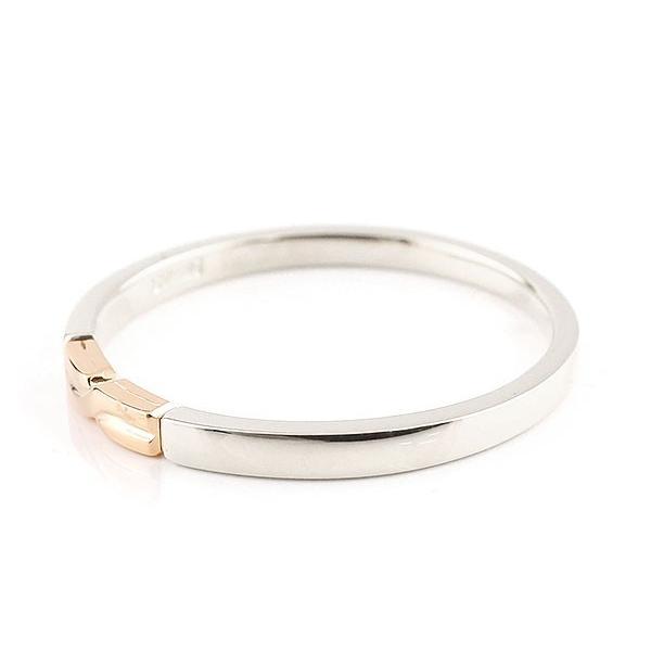 結婚指輪 マリッジリング ペアリング プラチナ ピンクゴールドk10 スイートペアリィー 結び リング pt900 10金 華奢 ストレート 地金リング コンビ 母の日