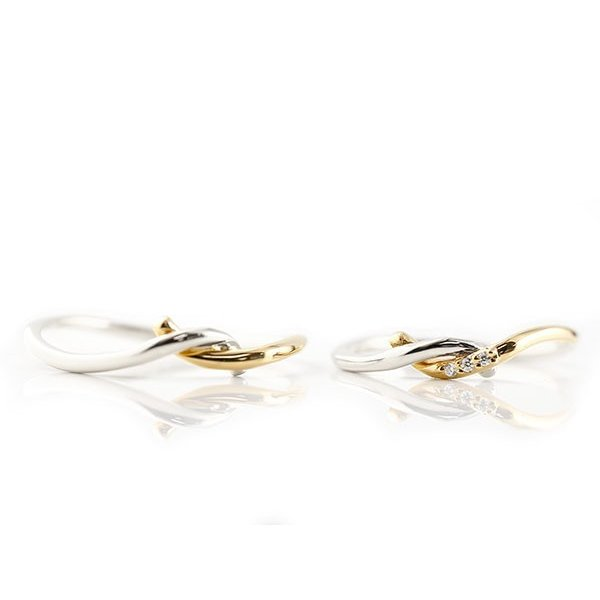 結婚指輪 マリッジリング ペアリング プラチナ イエローゴールドk18 ダイヤモンド スイートペアリィー 結び リング pt900 18金 華奢 コンビ 秋 冬|atrus|06