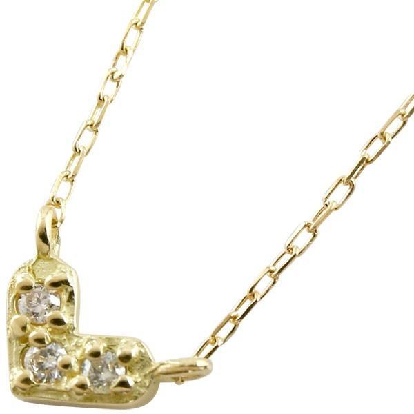 ハート ダイヤモンド ネックレス イエローゴールドk18 プチネックレス プチサイズ ペンダント ダイヤ レディース 18k 18金 あすつく 送料無料 atrus