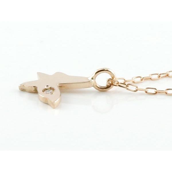 蝶 ダイヤモンド ネックレス ピンクゴールドk18 プチネックレス バタフライ ちょうちょう プチサイズ ペンダント ダイヤ レディース 18k 18金 あすつく 送料無料|atrus|02