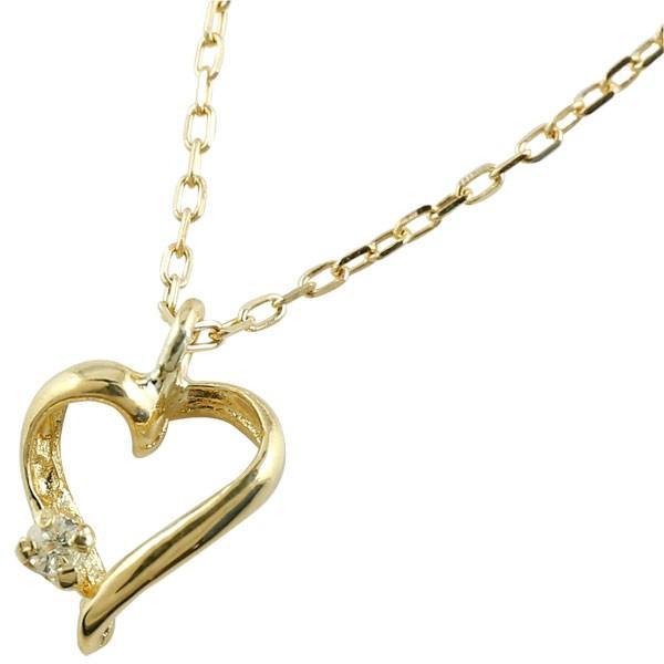 ハート ダイヤモンド ネックレス イエローゴールドk18 プチネックレス プチサイズ ペンダント ダイヤ レディース 18k 18金 あすつく 送料無料|atrus