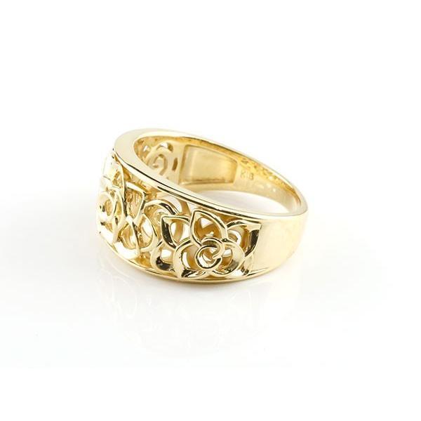 エンゲージリング ローズ バラ リング 透かし イエローゴールドk18 ピンキーリング 18金 指輪 指輪 母の日