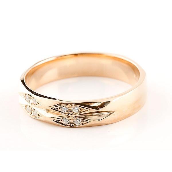 指輪 ダイヤモンド ピンクゴールドk18 ダイヤリング 指輪 婚約指輪 カットリング 菱形 18金 宝石  プレゼント 女性 ペア 母の日