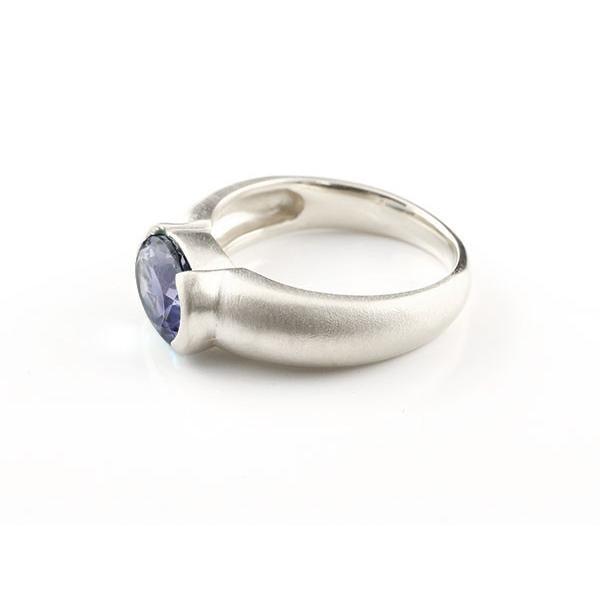 ピンキーリング ホワイトゴールドk10 大粒 一粒 アイオライト リング ピンキーリング 10金 指輪 婚約指輪 エンゲージリング 母の日