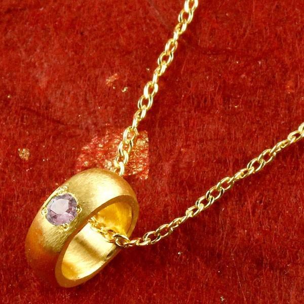 24金ネックレス 純金 ベビーリング ピンクサファイア 一粒 ペンダント 誕生石 出産祝いレディース 9月誕生石 甲丸 ゴールド k24 人気 送料無料