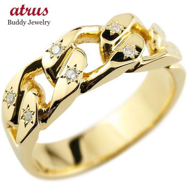 メンズ 喜平リング ダイヤモンド イエローゴールドK18 リング 指輪 婚約指輪 18金 キヘイ 鎖 ダイヤ 男性用 コントラッド 東京 Xmas Christmas|atrus