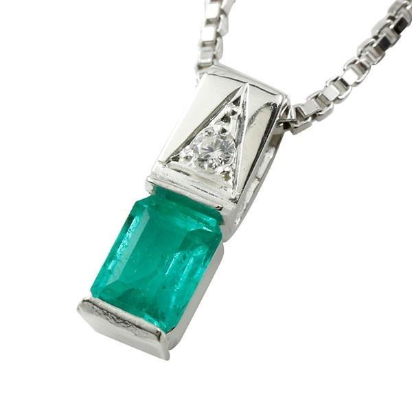 メンズネックレス ホワイトゴールドK18 エメラルド ダイヤモンド スクエア ペンダント 18金 男性用 緑の宝石 送料無料