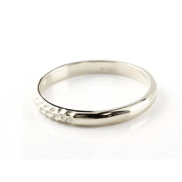 ペアリング ホワイトゴールドK10 ピンクゴールドK10 槌目 槌打ち 指輪 10金 ストレート 地金 マリッジリング 重ね付け リング  プレゼント 女性 母の日